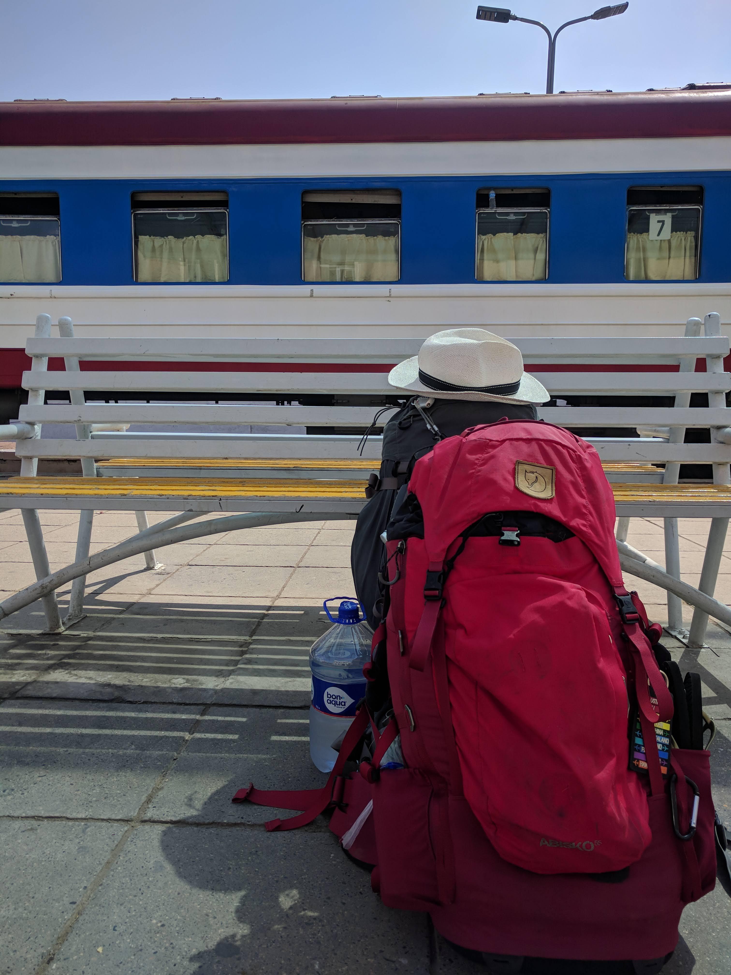 De rugzakken klaar in UB, bijna de trein op...