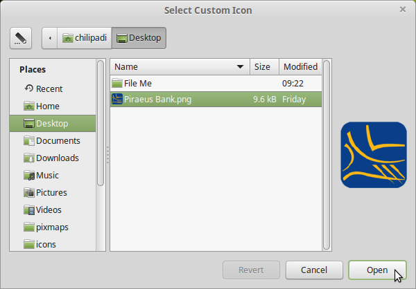 Select Custom Icon