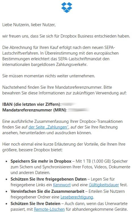 Eine Benachrichtigung von Dropbox zur bevorstehenden Rechnung.