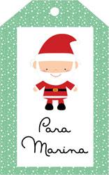 Etiqueta de Navidad personalizada Papá Noel con nombre