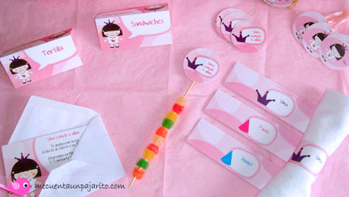Kit de cumpleaños de la princesa Uma, tarjetas mesa, toppers, invitaciones, servilleteros, etiquetas