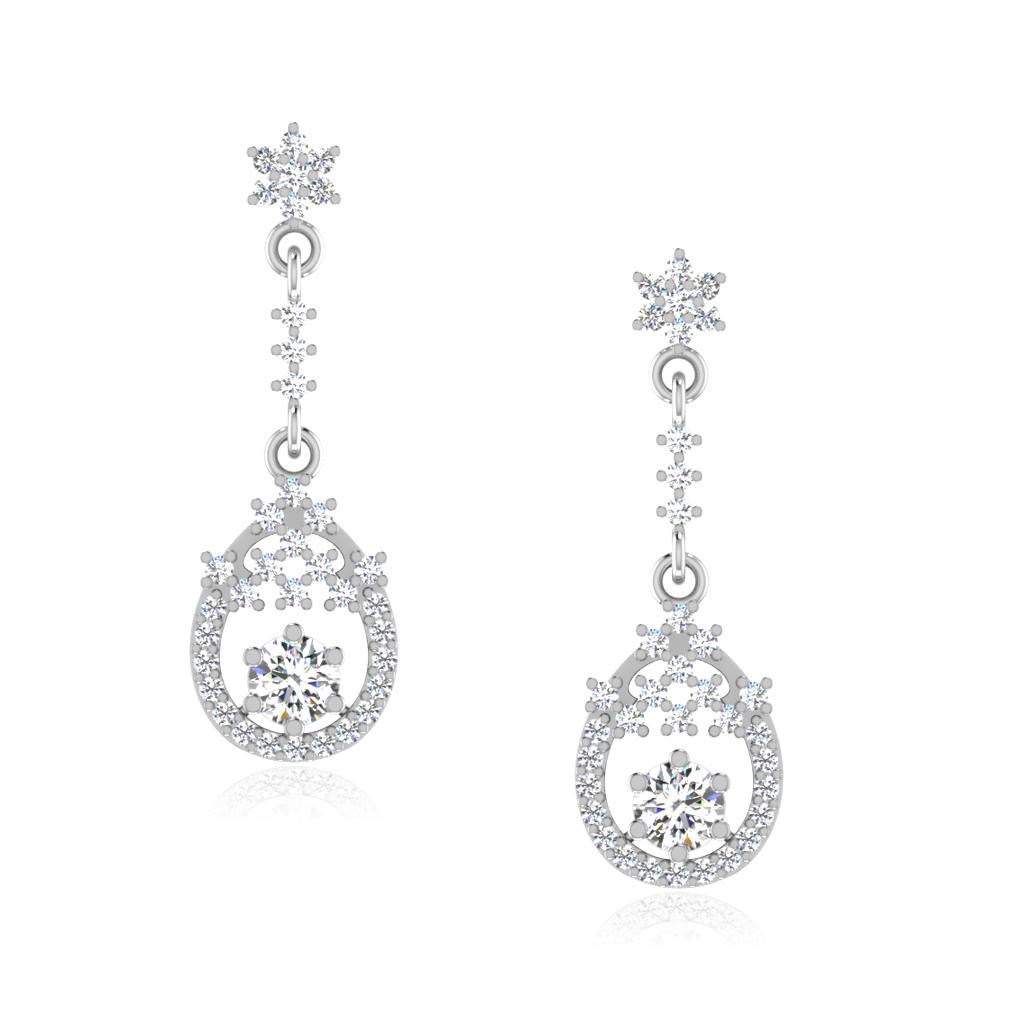 The Elien Solitaire Drop Earrings