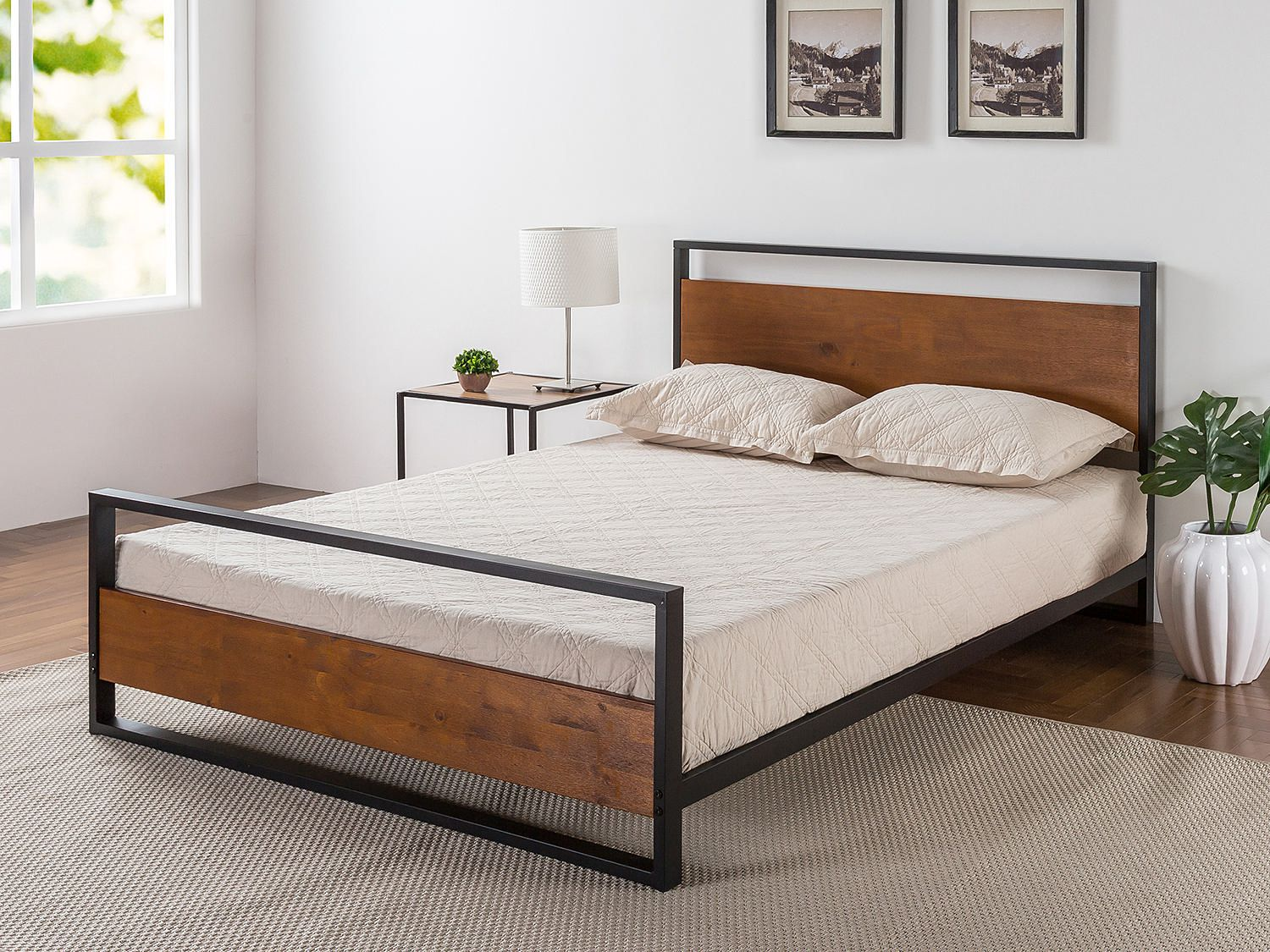 Zinus-Ironline-Metal-Wood-Bed-Frame-Queen-Single-Double-King-Base-Mattress-Pine thumbnail 11