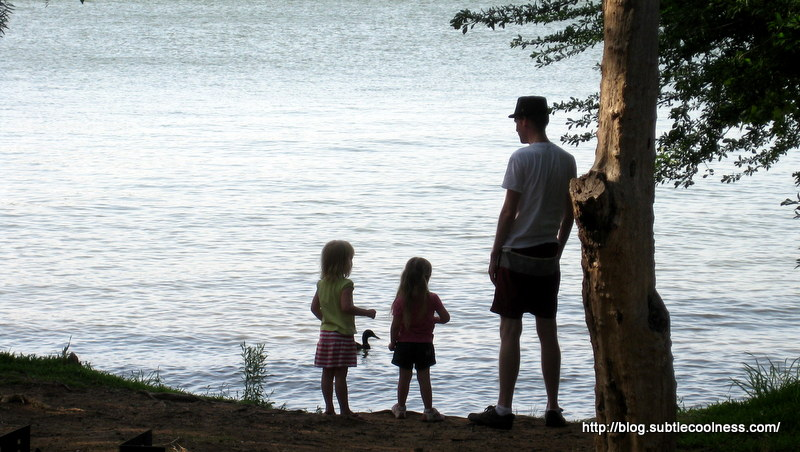 William, Emily, and Zoë check out the lake.