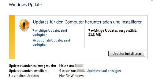 Über diesen Dialog lassen sich in Windows 7 und Windows 8 die Windows-Updates installieren.