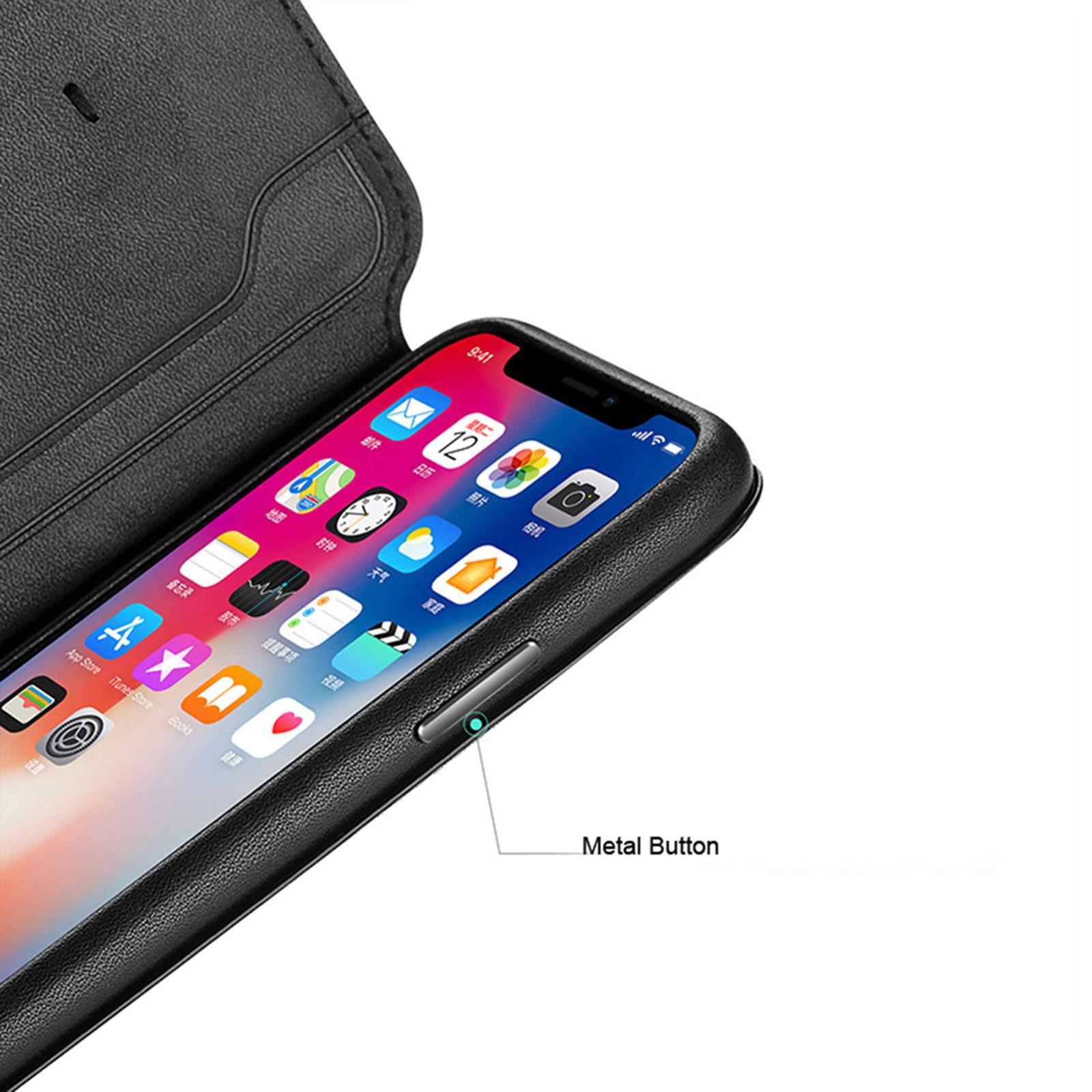 Nouveau-cuir-flip-portefeuille-Folio-Telephone-Etui-Housse-Pour-Apple-iPhone-11-Pro-Max-Xs-XR miniature 13