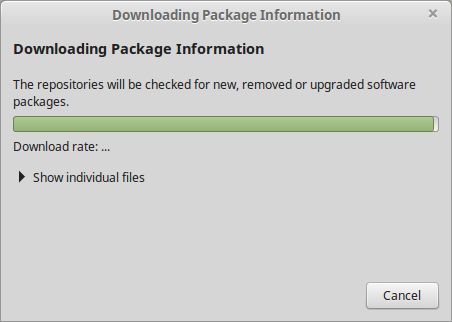 Downloadin Package Information pop-up window