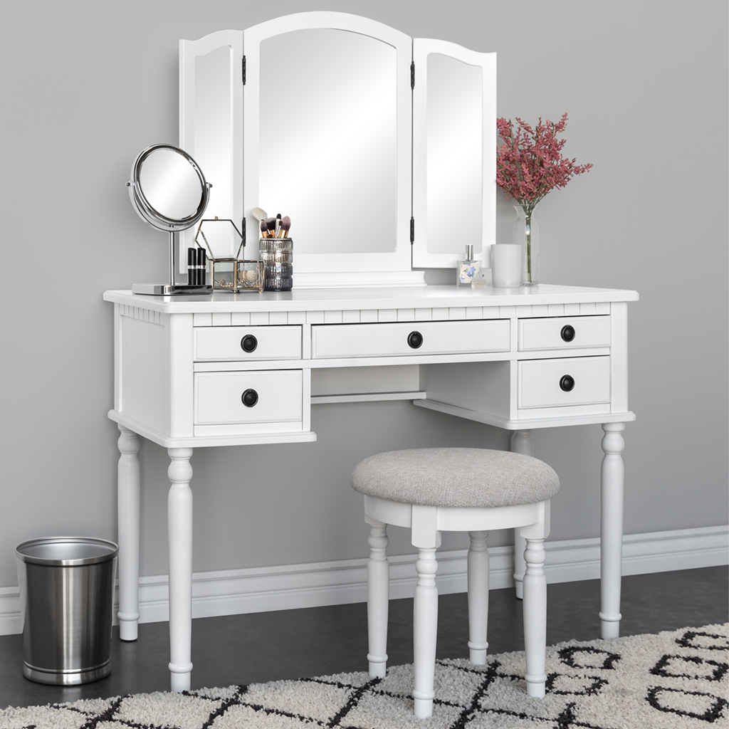 Bedroom vanities sears best choice products makeup cosmetic beauty vanity dressing table set w tri fold mirror aloadofball Choice Image
