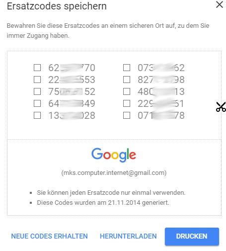 Einmalcodes für Google.