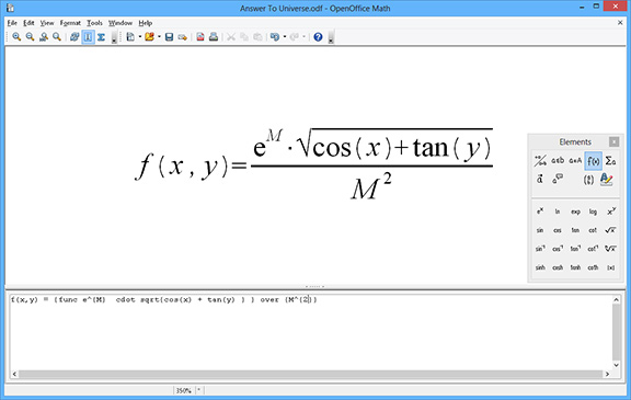 Open Office Math screenshot, mathematical equations software