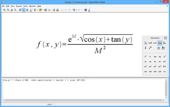 Open Office Math screenshot, mathematical equations software