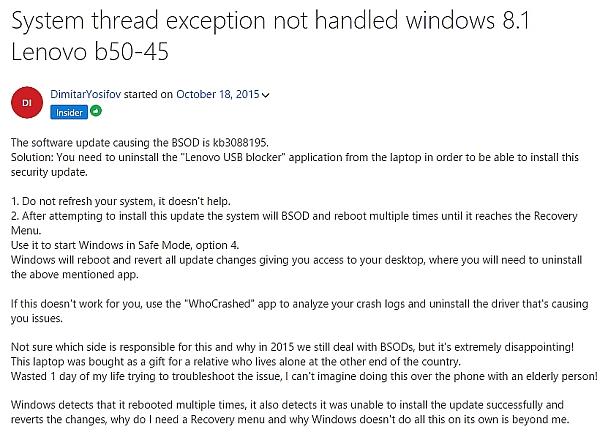 Screenshot der Forum-Seite mit dem Hinweis zum USB-Blocker