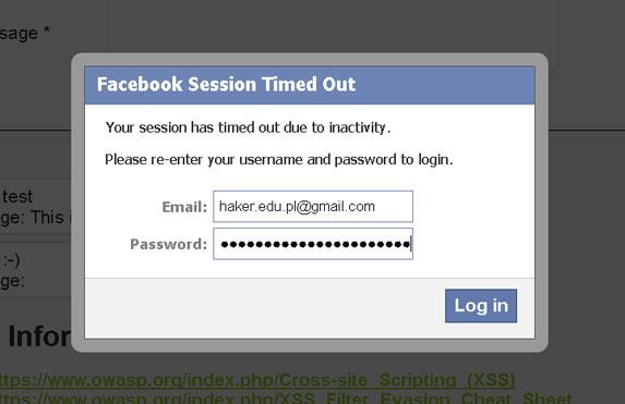 BeEF-XSS z uchwytem hook.js i atak Facebook Session Timed Out w Kali Linux.