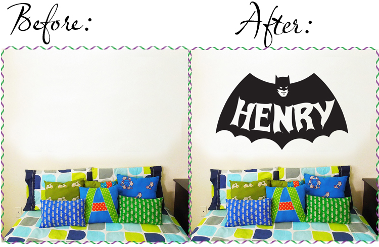 batman and personalised customised name wall decal in Melbourne Australia