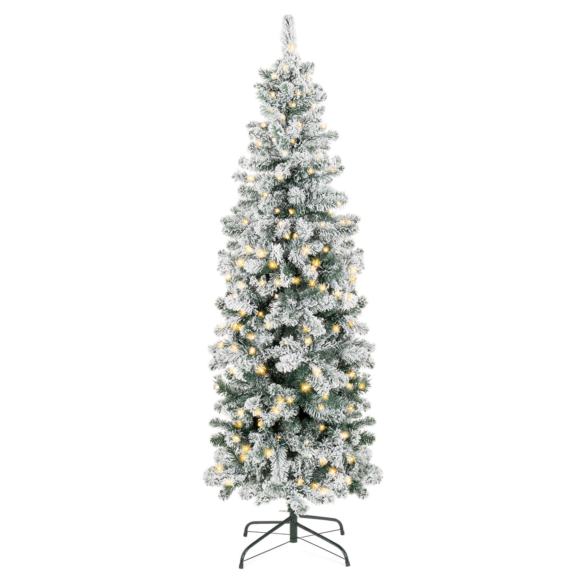 BCP 6ft Pre-Lit Artificial Pencil Christmas Tree w/ Snow ...