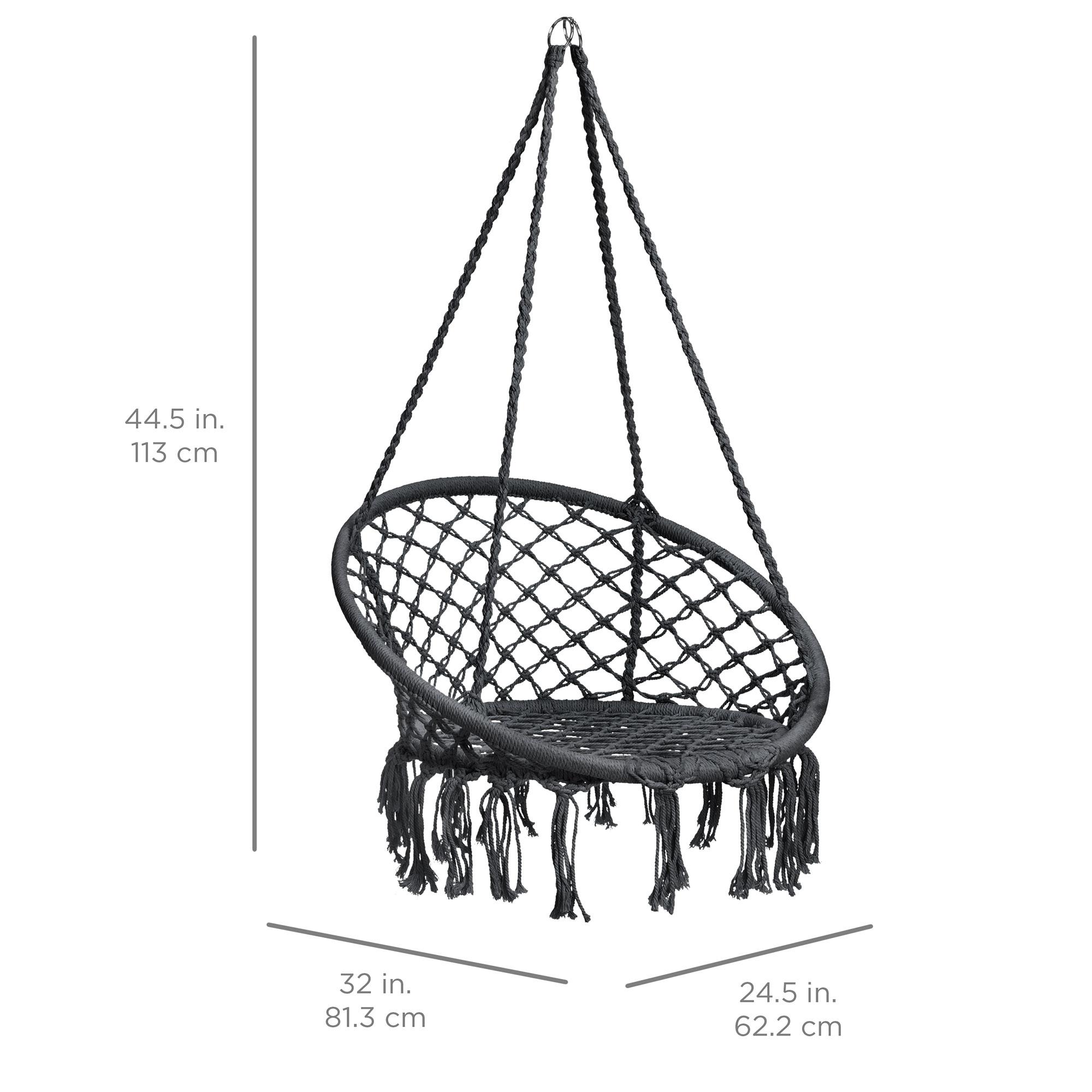 BCP-Handwoven-Cotton-Macrame-Hammock-Hanging-Chair-Swing-w-Backrest thumbnail 21