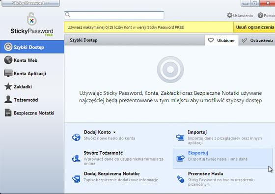Interfejs programu Sticky Password