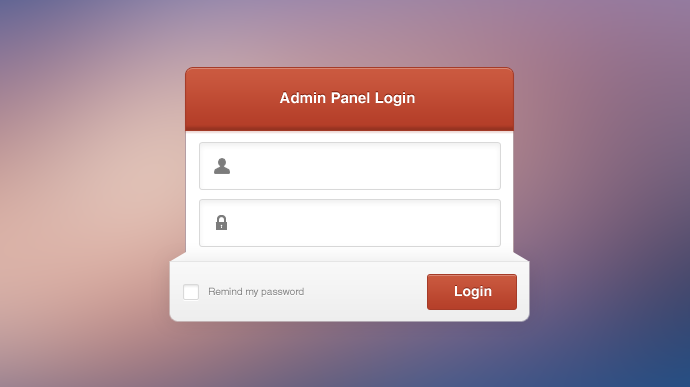 login panel template psd