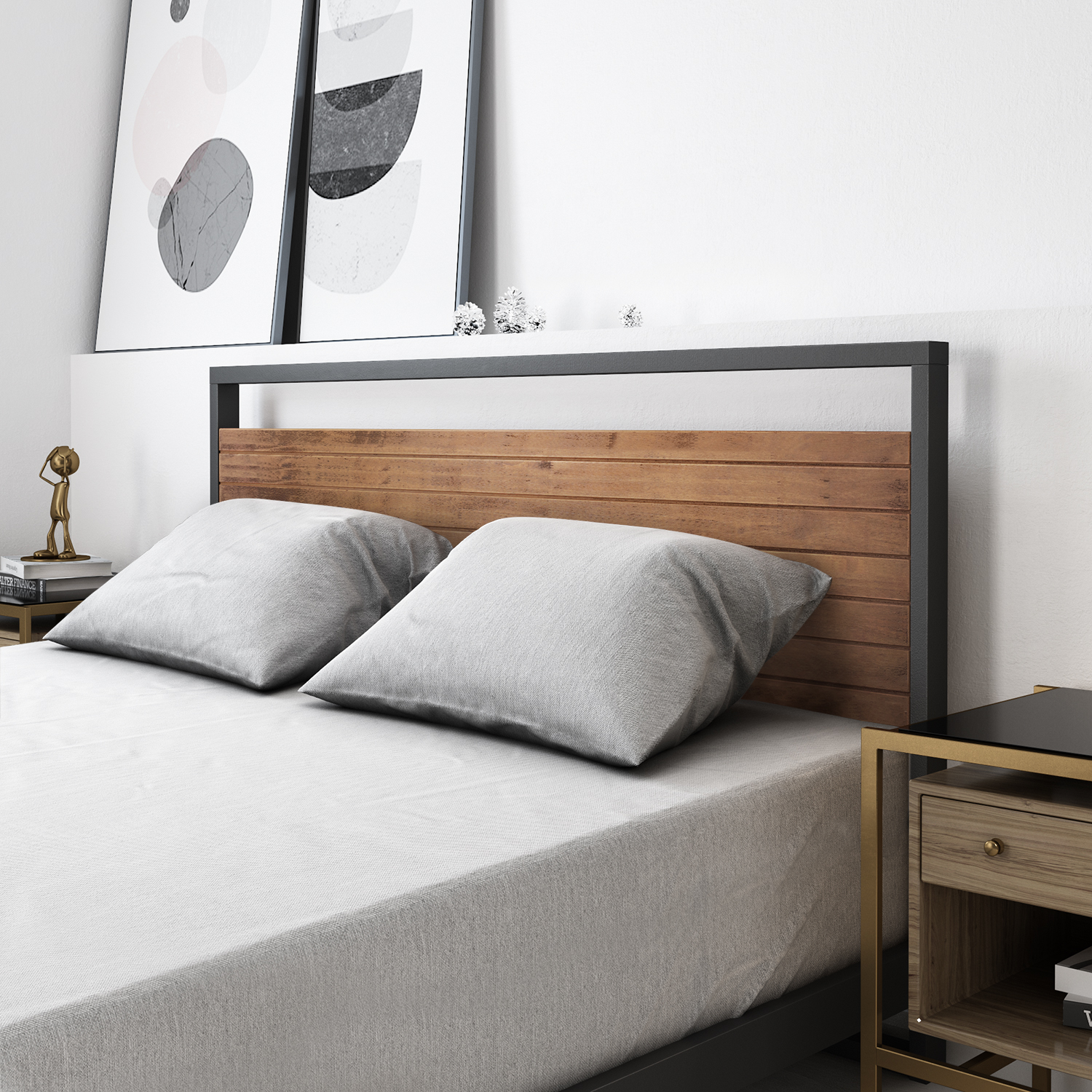 Zinus-Ironline-Metal-Wood-Bed-Frame-Queen-Single-Double-King-Base-Mattress-Pine thumbnail 4