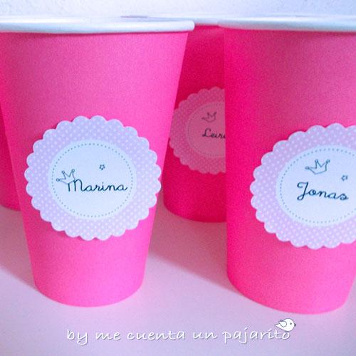 Pegatinas para vasos, etiquetas del cumpleaños de Marina, sello personal