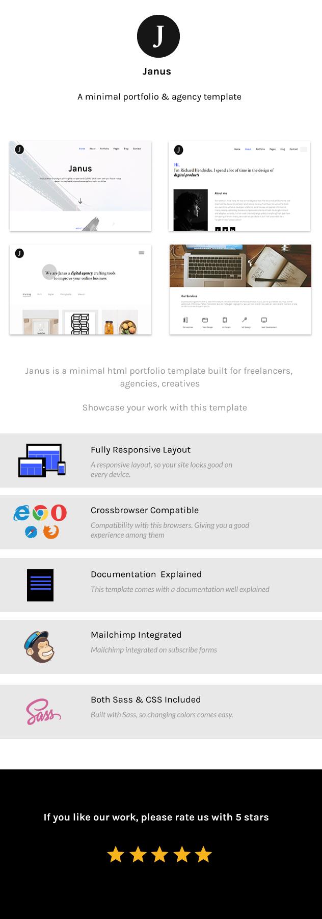 Janus - A minimal portfolio and agency template - 1