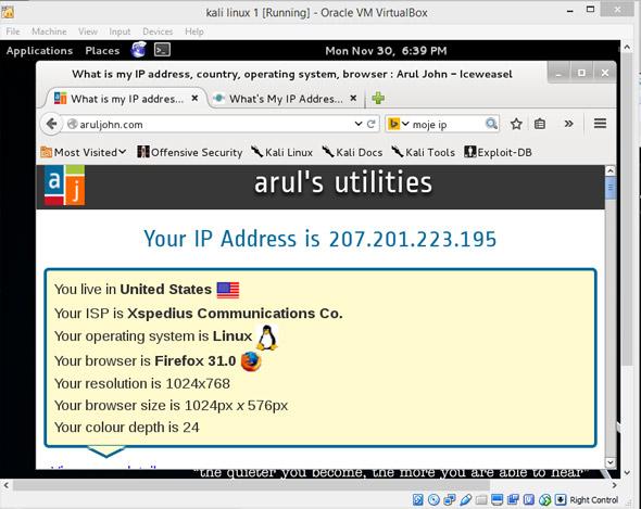 Kali Linux adres IP sieci Tor.