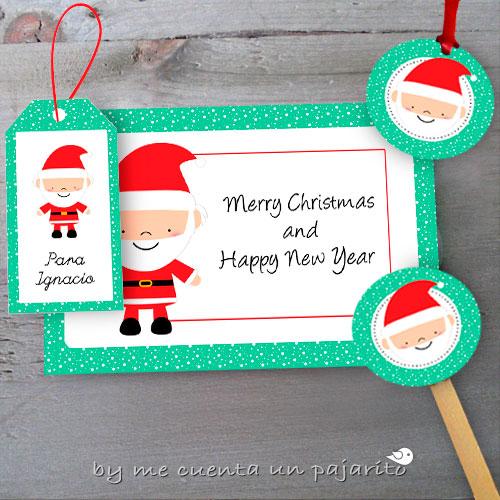 Felicitación, etiquetas nombre, etiquetas colgar, toppers de Papá Noel