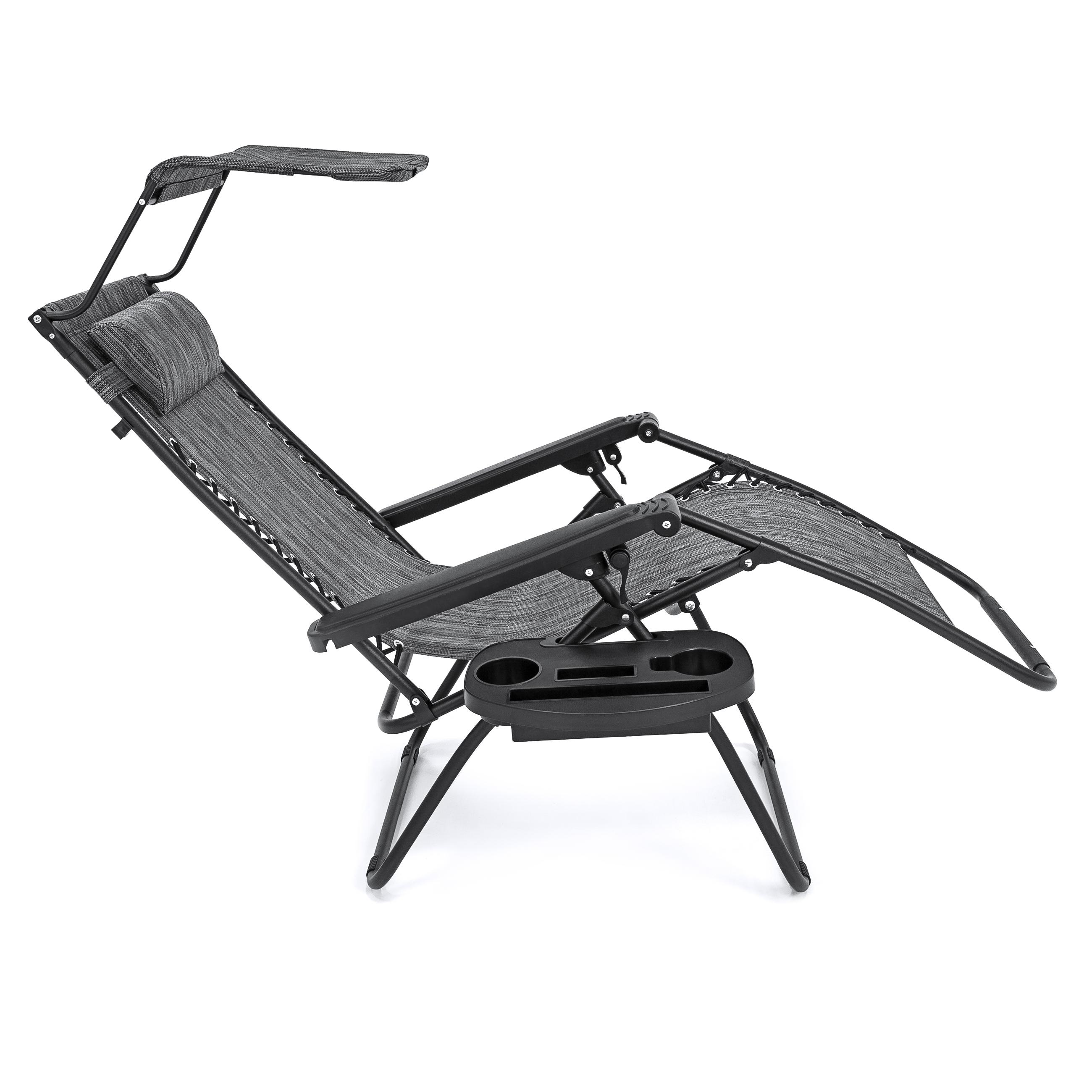 Folding Zero Gravity Recliner Lounge Chair Canopy Shade