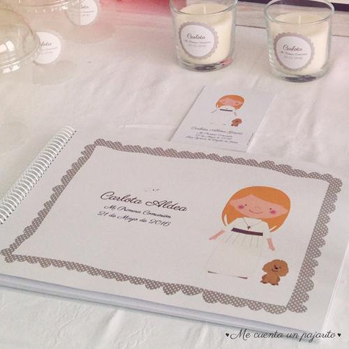 mesa dulce primera comunión recordatorio personalizado álbum de firmas y fotos