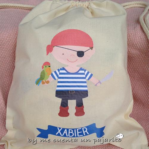 Mochila personalizada de algodón pirata niño