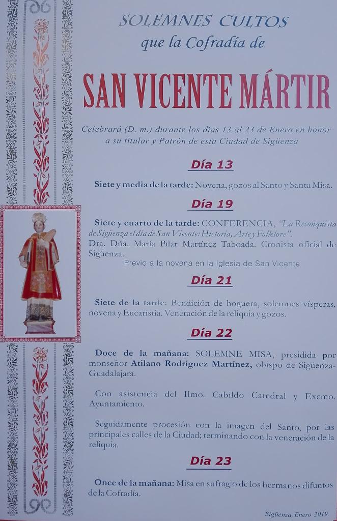 Programa de actos de los cultos en honor a San Vicente Mártir