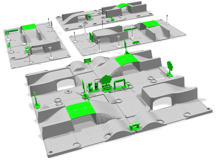 Etudes 3D autour du design des plateformes (au fond) et version remise aux moulistes (premier plan). Cliquez pour afficher en HD