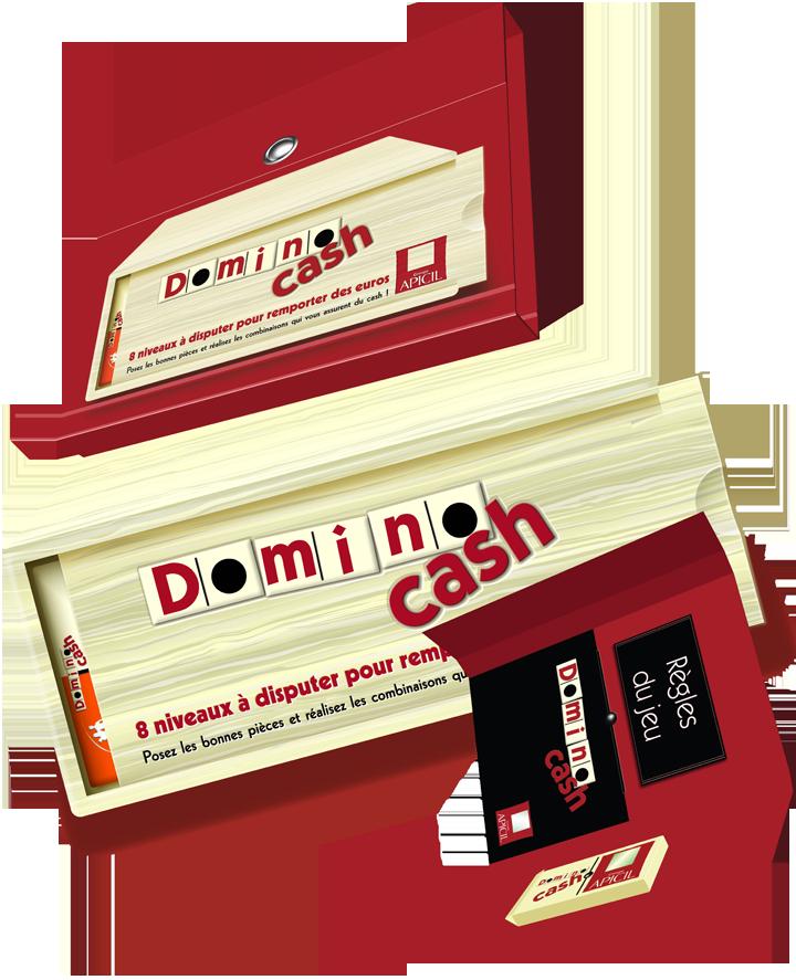Visuels pour représenter une boîte de jeu de dominos.