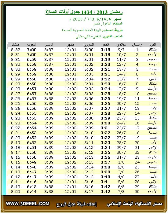 امساكية رمضان 2013 – 1434 | مصر القاهرة - امساكية شهر رمضان مصر مدينة القاهرة 2013 - امساكية رمضان جميع الدول العربية 2013