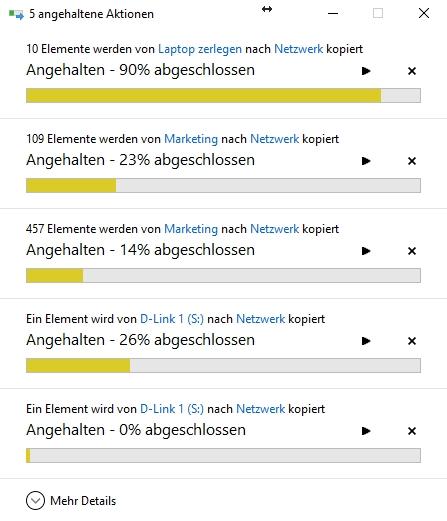 Vereinfachte Ansicht unter Windows 10 - Mehr Details über die Schaltfläche einblendbar