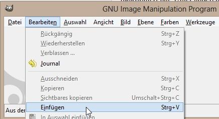 Nach dem Kopieren der gruppierten Word-Grafik kann man diese in GIMP einfügen.