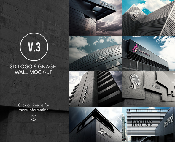 3D Logo Wall Bundle Mock-Up