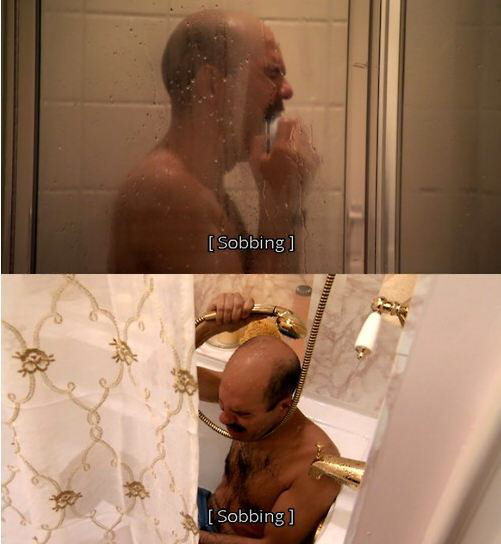 Tobias Funkë crying in the shower