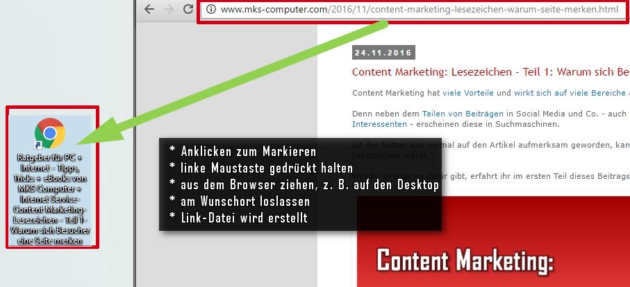 Link als Datei auf Desktop erstellen