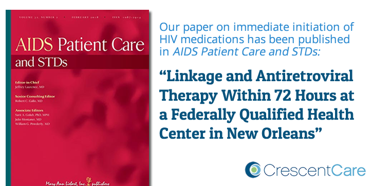Our paper—Linkage and Antiretroviral Therapy Within 72 Hours at a Federally Qualified Health Center in New Orleans—has been published in AIDS Patient Care and STDs