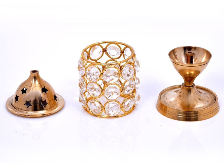 Akhand Diya Crystal and Brass