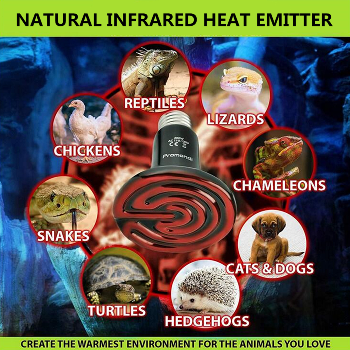 Other Electrical Supplies Ac220v 50w 100w 150w 200w E27 Ceramic Infrared Light Pet Bulb Heat