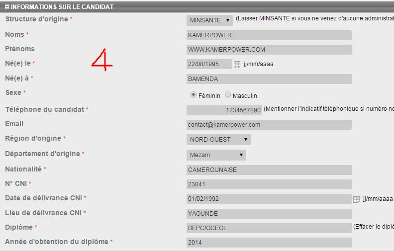 Online Registration procedure for MINSANTE Concours Cameroon