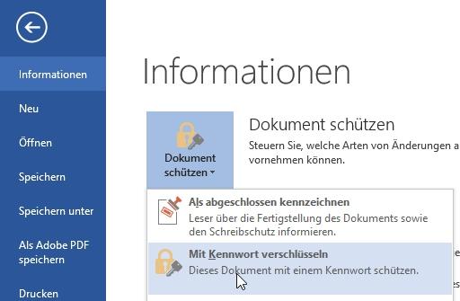 In einer Word-Datei (hier mit Microsoft Word 2016) kann der Zugriff durch ein Passwort eingeschränkt werden.