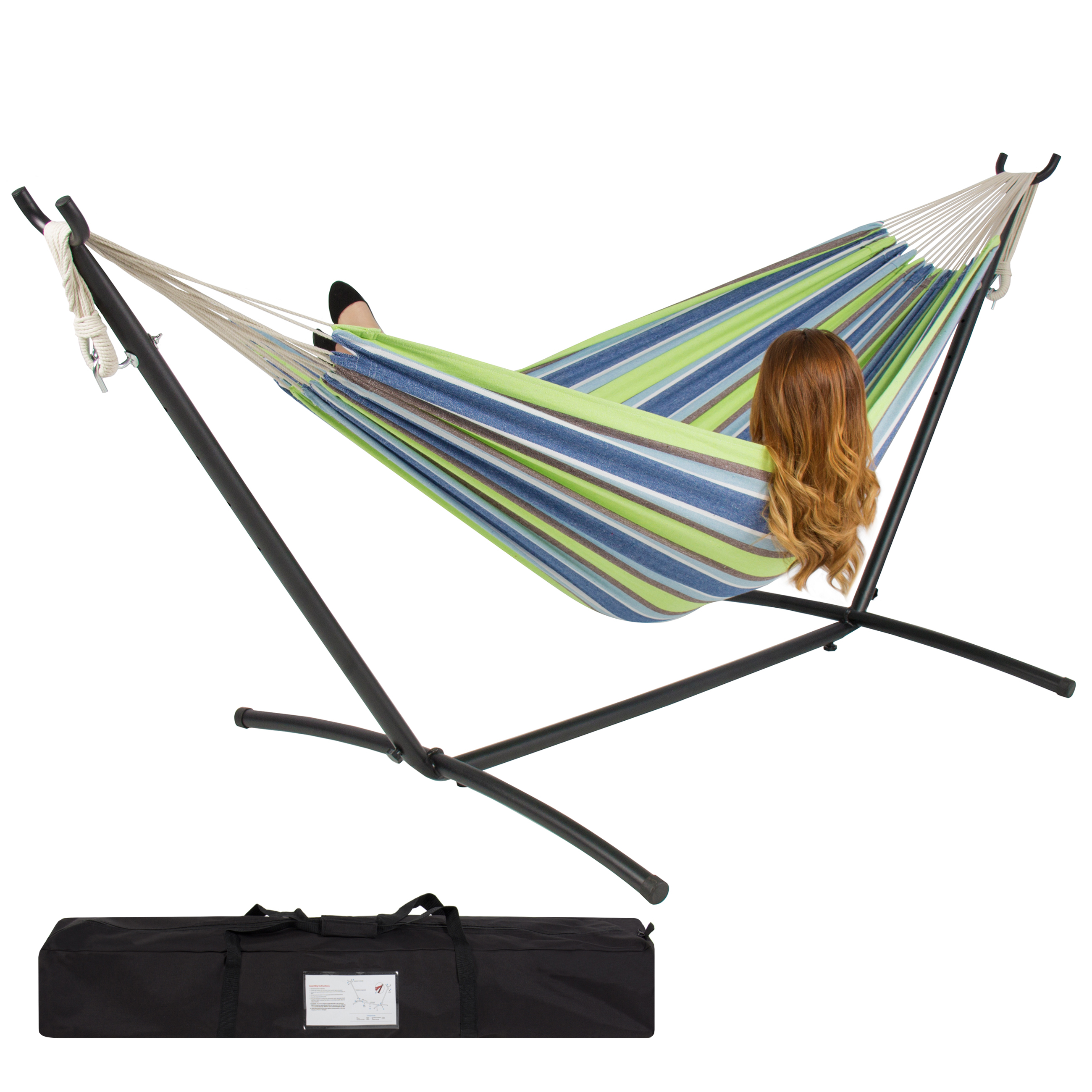 BCP-Double-Hammock-Set-w-Steel-Stand-Carrying-Case-for-Indoor-and-Outdoor