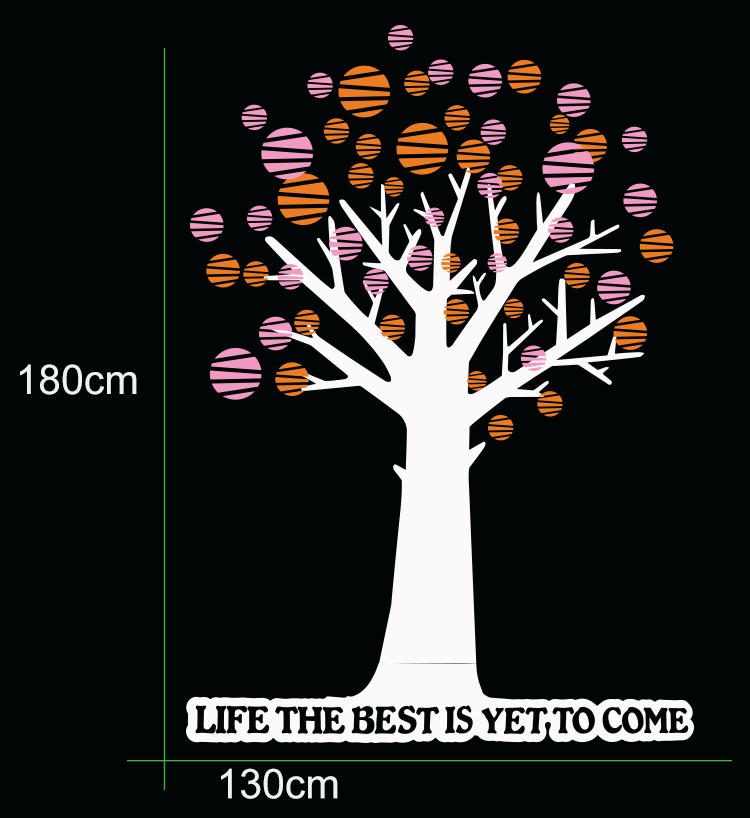"Polka Dot Tree & Quote ""LIFE THE BEST IS YET TO COME"""
