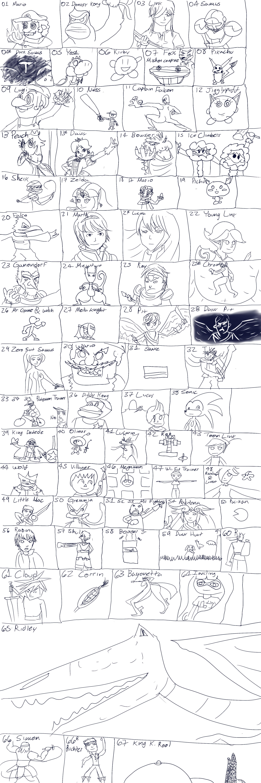 El roster de Smash Ultimate pero dibujado con las patas SmashUltimateRoster