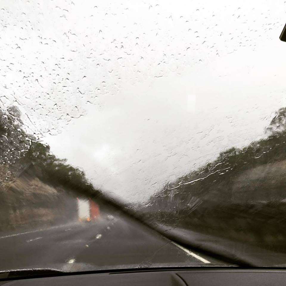 Rainy driving on road