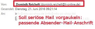 Auch Absender, Begrüßung + Schluss-Formel lassen nicht auf eine Schädlings-Mail schließen.