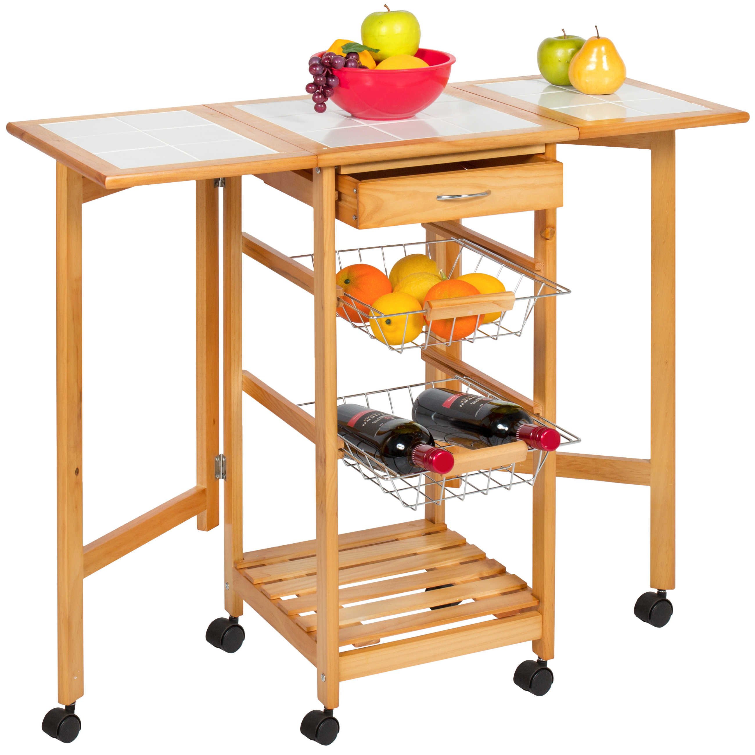 Portable Folding Tile Top Drop Leaf Kitchen Island Cart Table Rolling Trolley 816586027719 Ebay